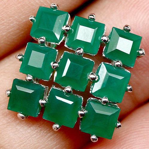 Кольцо серебро 925 с агатом зеленым натуральным арт.00600-16