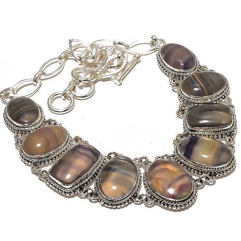 Ожерелье серебро 925 ручной работы с разноцветным флюоритом натуральным (45 см)