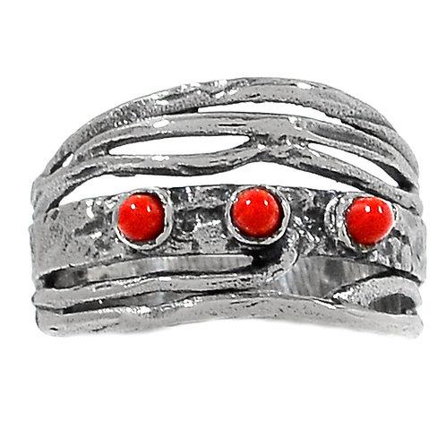 Кольцо дизайнерское серебро 925 ручной работы с кораллом натур. арт.200046-50