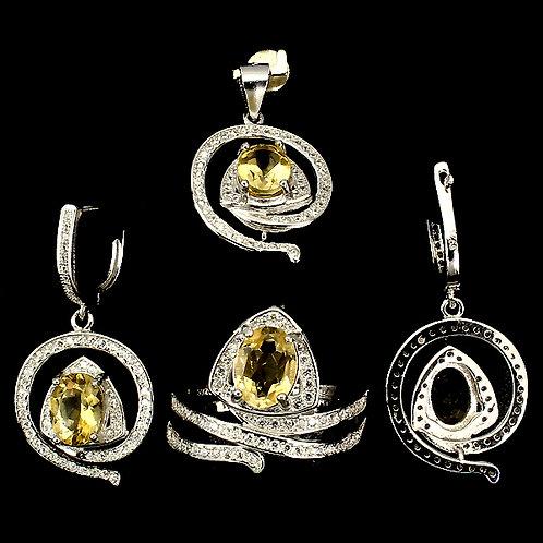 Комплект серебро 925 с цитрином натуральным (размер кольца 17.9)
