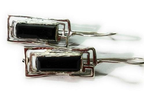 Серьги серебро 925 ручной работы с черным ониксом нат. арт.102049-21