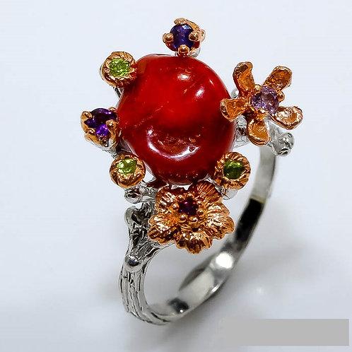 Кольцо серебро 925 ручной работы с кораллом натур. арт.000731-50