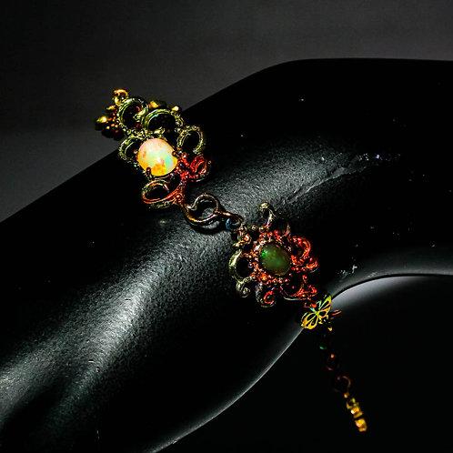 Браслет серебро 925 ручной работы c черным и разноцветным опалом натуральным