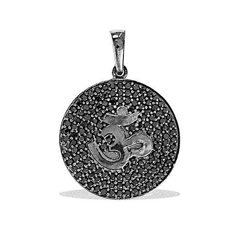 """Подвеска """"Ом"""" дизайнерская серебро 925 со шпинелью натур.арт.10150-25"""