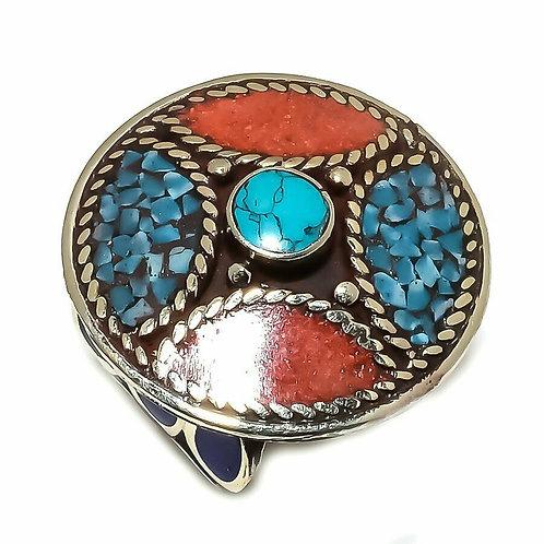 Кольцо тибетское серебро ручной работы с кораллом и бирюзой натур. арт.102708