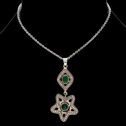 Ожерелье серебро 925 ручной работы с ониксом и белым топазом натуральными
