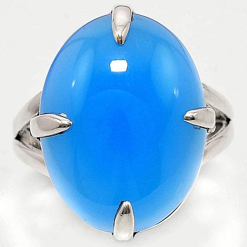 Кольцо серебро 925 ручной работы с голубым халцедоном натуральным15х20 мм р.18.2