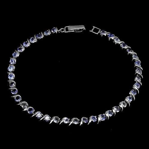 Браслет серебро 925 ручной работы с танзанитом натуральным арт.103028