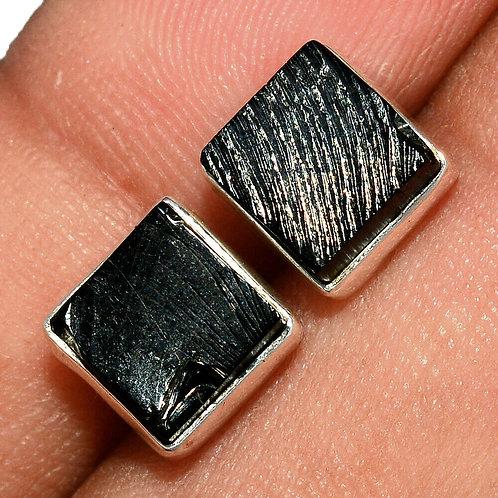 Серьги серебро 925 ручной работы с шунгитом натуральным