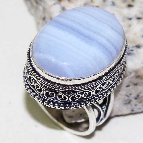Кольцо винтажное серебро 925 с голубым агатом натур арт.000878-16