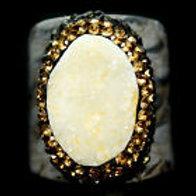 Кольцо серебро 925 ручной работы с друзой белого агата нат. арт.102732
