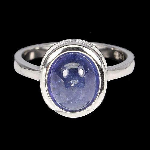Кольцо серебро 925 ручной работы с танзанитом натуральным арт.102749