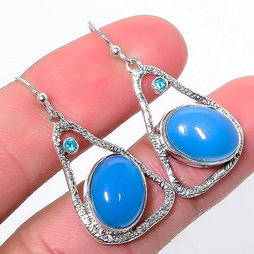 Серьги серебро 925 ручной работы с голубым халцедоном натуральным (длина 3.8 см)