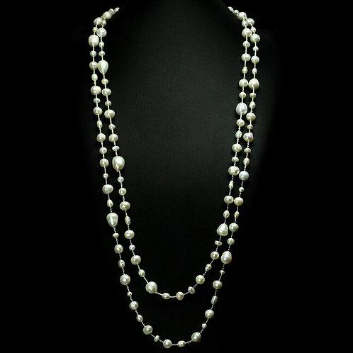 Ожерелье ручной работы с кремовым жемчугом натуральным (длина 157 см)