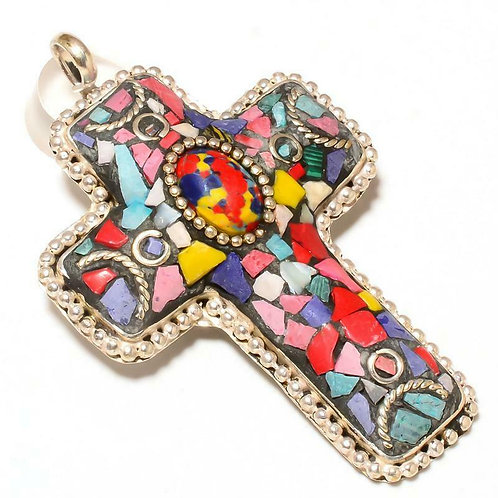Подвеска-крест тибетское серебро  с разными натур камнями арт101472-12