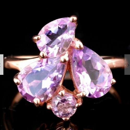 Кольцо серебряное с розовым аметистом натуральным арт.102659