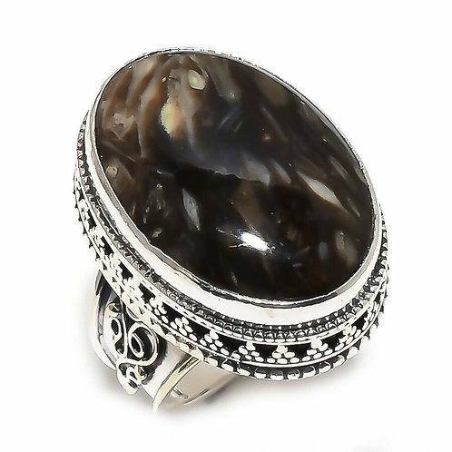 Кольцо винтажное серебро 925 ручной работы c черным серафинитом натур. (р.17.7)