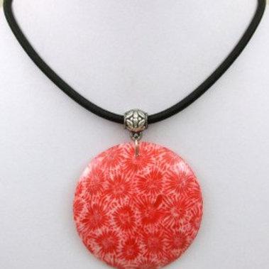 Ожерелье ручной работы с красным кораллом натуральным (длина 44.5 см)