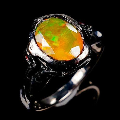 Кольцо серебро 925 ручной работы с оранжевым опалом натур. (р.17.7) арт.102841
