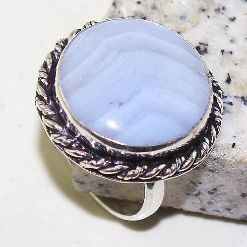 Кольцо винтажное серебро 925  с голубым агатом натур. арт000883-16