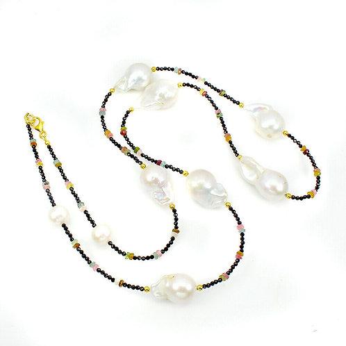 Ожерелье ручной работы c жемчугом, турмалином и шпинелью натуральными арт.102260