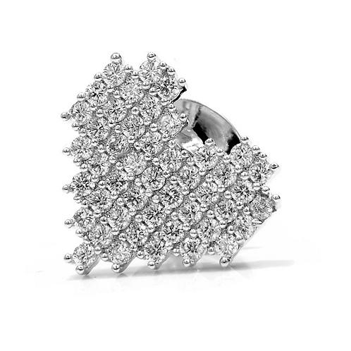 Брошь-значок на воротник посеребрение с фианитами