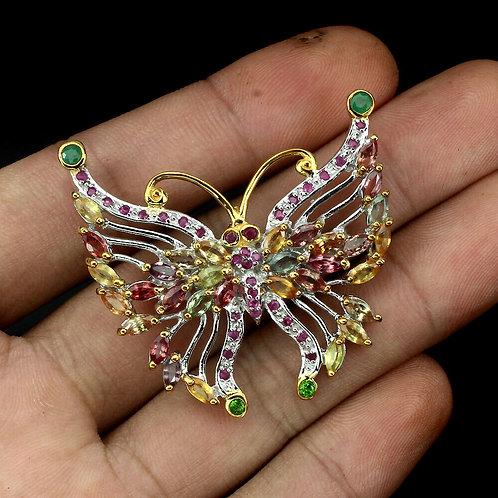 Серебряная брошь  с самоцветами бабочка
