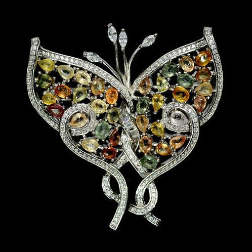 Серебряная брошь  с сапфиром бабочка
