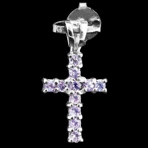 Подвеска-крест серебро 925  с танзанитом  натур арт. 102262-55