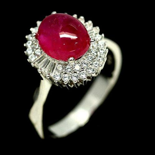 Кольцо серебро 925 ручной работы с розовым рубином натурал. (р.17.3) арт.102979