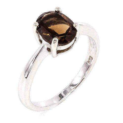 Кольцо серебро 925 с дымчатым кварцем натуральным (р.18.3)