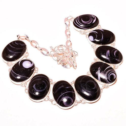 Ожерелье серебро 925 ручной работы с черным агатом натуральным (45 см)