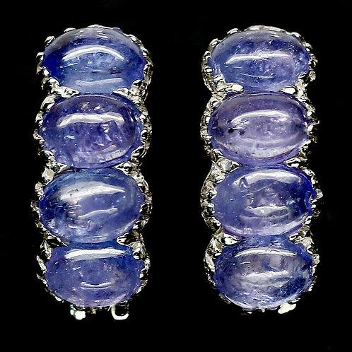 Серьги серебро 925 ручной работы с синим танзанитом натуральным арт.102473