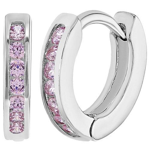 Серьги-кольца позолоченные 18 К с розовым фианитом детские