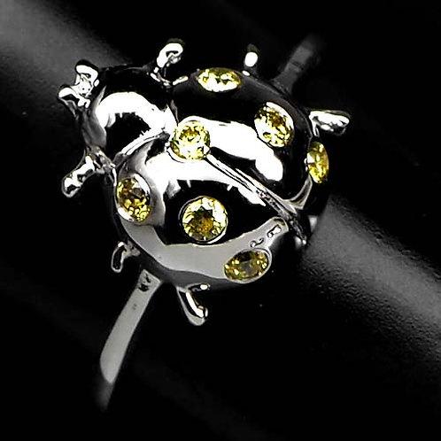 Кольцо серебро 925 ручной работы с желтым сапфиром натур. арт.200138-7