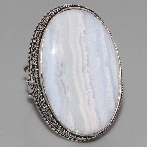 Кольцо винтажное серебро 925  с голубым агатом натур арт.000887-16
