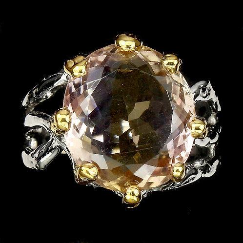 Кольцо серебро 925 ручной работы с аметрином натуральным 18,2