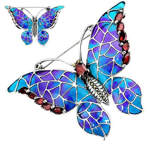 Серебряная брошь-подвеска с рубином бабочка