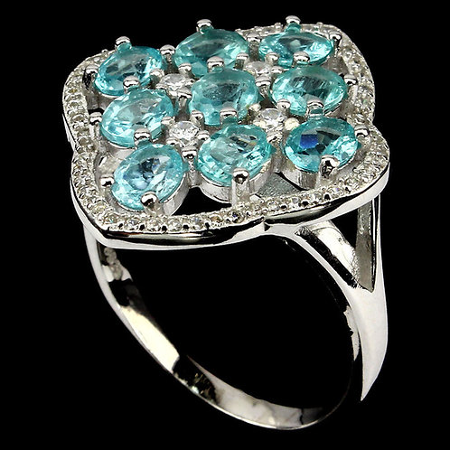 Кольцо серебро 925 c апатитом неоновым голубым натуральным (р.16.5)