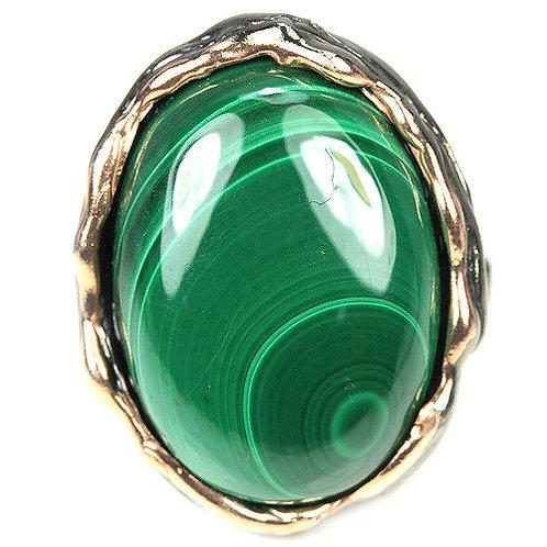 Кольцо серебро 925 ручной работы с малахитом натуральным 22х16 мм (р.17.1)