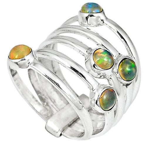 Кольцо серебро 925 с опалом эфиопским разноцветным натур. арт.00665-3