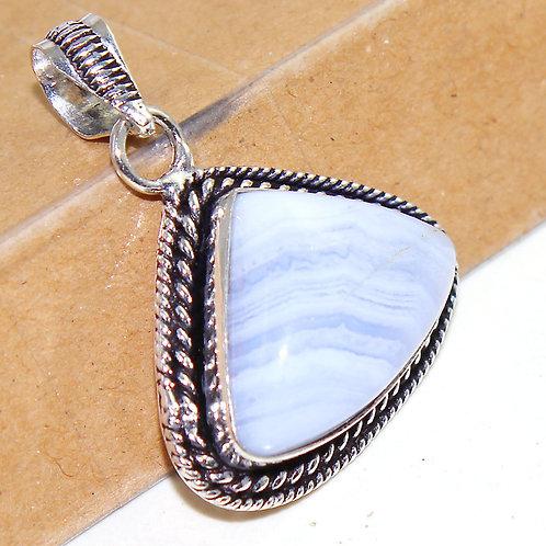 Подвеска серебро 925 c кружевным голубым агатом натур арт001365-16