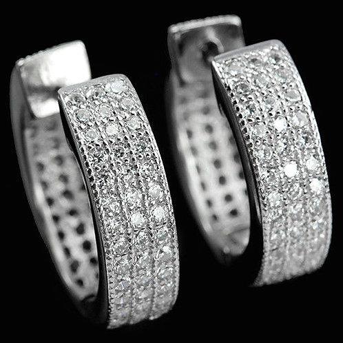 Серьги серебро 925 с фианитом 1 мм (диаметр 15 мм)