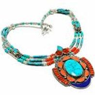 Ожерелье тибетское серебро ручной работы с кораллом, бирюзой, лазурит арт.102714