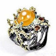 Кольцо серебро 925 ручной работы с агатом натур. арт.01008-16