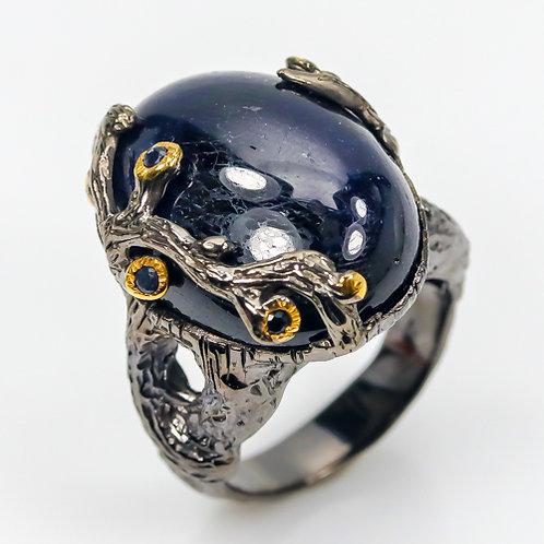 Кольцо серебро 925 ручной работы с сапфиром натуральным 50 К (23х16 мм) р.18.2
