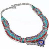 Ожерелье тибетское серебро ручной работы с кораллом, бирюзой, лазурит арт.102713