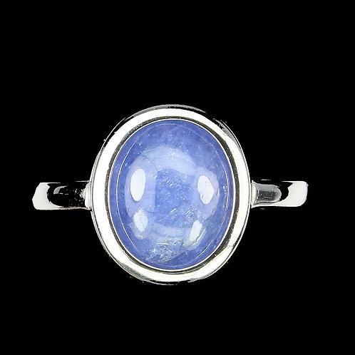 Кольцо серебро 925 ручной работы с танзанитом нат. 11х9 мм(17.3) арт.102290