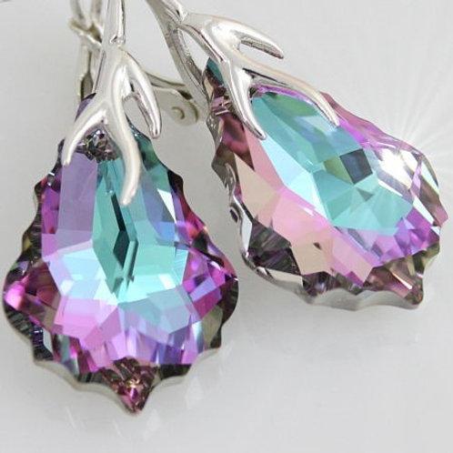 Серьги с кристаллами Сваровски посеребрение
