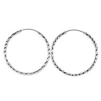 Серьги-кольца витые серебро 925 ручной работы (диаметр 45 мм)